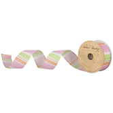 Pink, Peach & Green Striped Wired Edge Ribbon - 1 1/2""