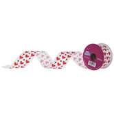 """Red Hearts Wired Edge Ribbon - 1 1/2"""""""