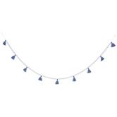 Blue Tassels & White Wood Beads Garland
