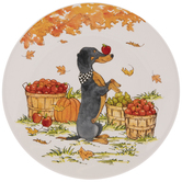Dog With Scarf Autumn Plate