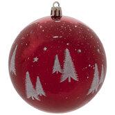 Red & White Glitter Trees Ball Ornaments