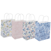 Blue, Pink & Yellow Watercolor Flower Craft Gift Bags