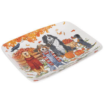 Dogs Autumn Rectangle Platter