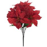 Red Satin Poinsettia Bush