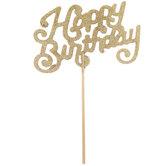 Gold Glitter Happy Birthday Cake Topper