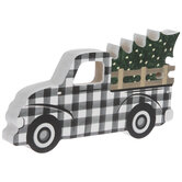 Black & White Buffalo Check Truck Wood Decor