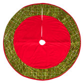Red & Green Plaid Sequin Tree Skirt