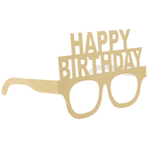 Gold Glitter Happy Birthday Glasses