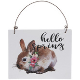 Hello Spring Bunny Wood Ornament
