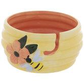 Yellow Hive & Bee Yarn Bowl