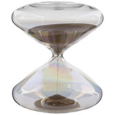 Brown & Iridescent Wide Glass Hourglass
