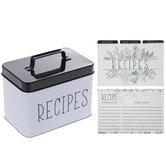 White & Black Metal Recipe Box