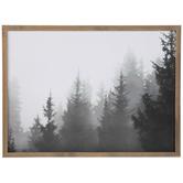 Black & White Foggy Watercolor Trees Wood Wall Decor