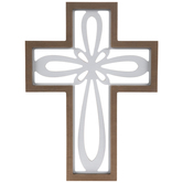 White Cutout Loop Wood Wall Cross