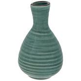 Teal Round Cracked Glaze Mini Vase
