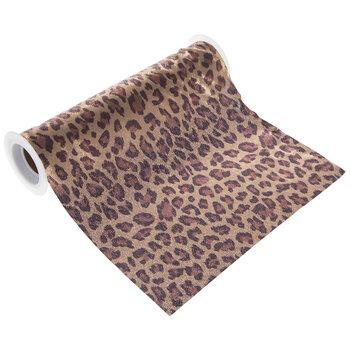 "Leopard Print Faux Suede Wide Ribbon - 8"""