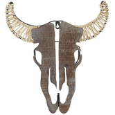 Bull Skull With Wrapped Horns Wood Wall Decor