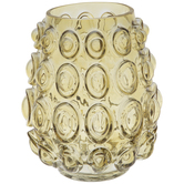 Yellow Round Bubbled Glass Vase
