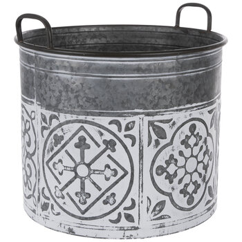 Whitewash Tile Galvanized Metal Bucket