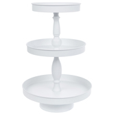 White Three-Tiered Metal Tray