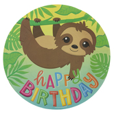 Happy Birthday Sloth Paper Plates - Large