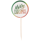 Red & Green Metallic Merry Christmas Cupcake Toppers