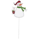 Snowman Wearing Santa Hat Metal Garden Stake