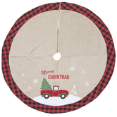 Red Truck With Tree Buffalo Check Edge Tree Skirt