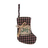 Joy Plaid Stocking - Mini