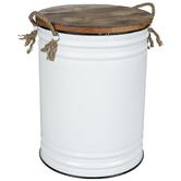 White Enameled Metal Container