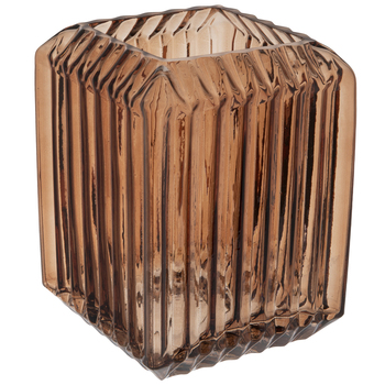 Dark Brown Ribbed Square Glass Vase