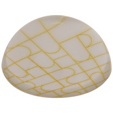 White & Gold Round Glass Paperweight