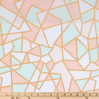 Pastel & Gold Geometric Apparel Fabric