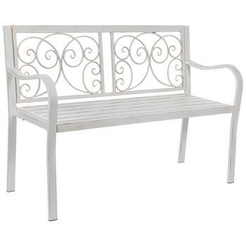 White Swirl Metal Bench