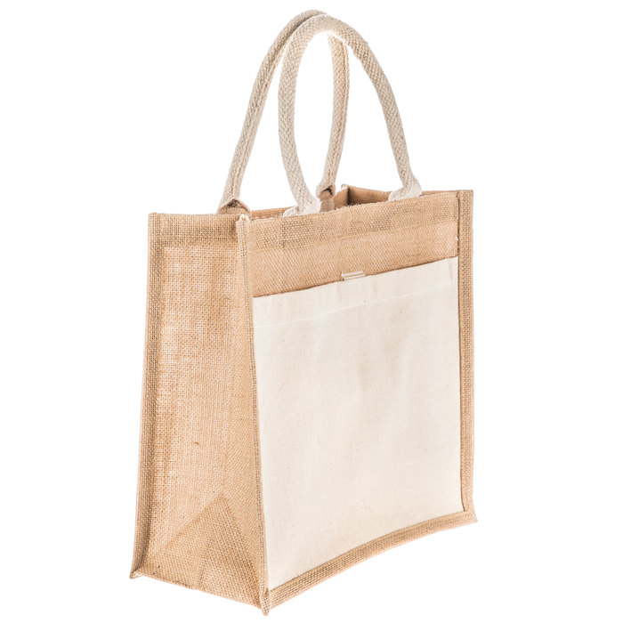 5 x Jute Medium shopping bag with animal print sides
