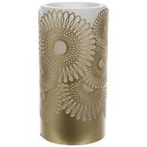 Gold Metallic Flower LED Pillar Candle