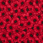 Red Packed Poppies Cotton Calico Fabric