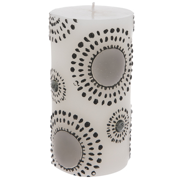 White & Black Dotted Circles Pillar Candle