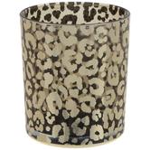 Metallic Gold Leopard Print Glass Vase