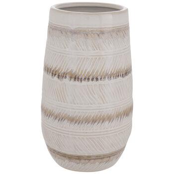 Cream & Brown Striped Vase