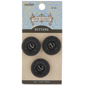 Black Star Round Buttons - 23mm