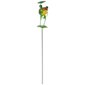 Frog With Lily Pad Metal Garden Stake
