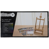 Oil Paint & Easel - 51 Piece Set