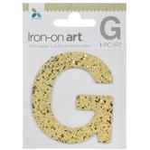 "Gold Glitter Letter Iron-On Applique G - 2 1/2"""