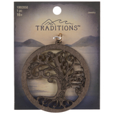 Tree Cut-Out Round Wood Pendant