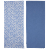 Blue & Art Deco Seashells Kitchen Towels
