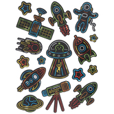 Holographic Neon Spaceship Stickers