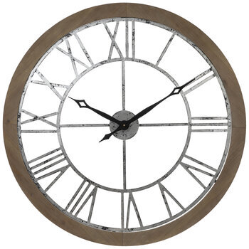 Galvanized Metal Roman Numeral Wall Clock