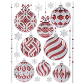 Red, White & Silver Ornament Wall Adhesives