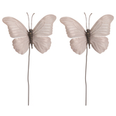 Soft Pink Metallic Butterfly Picks
